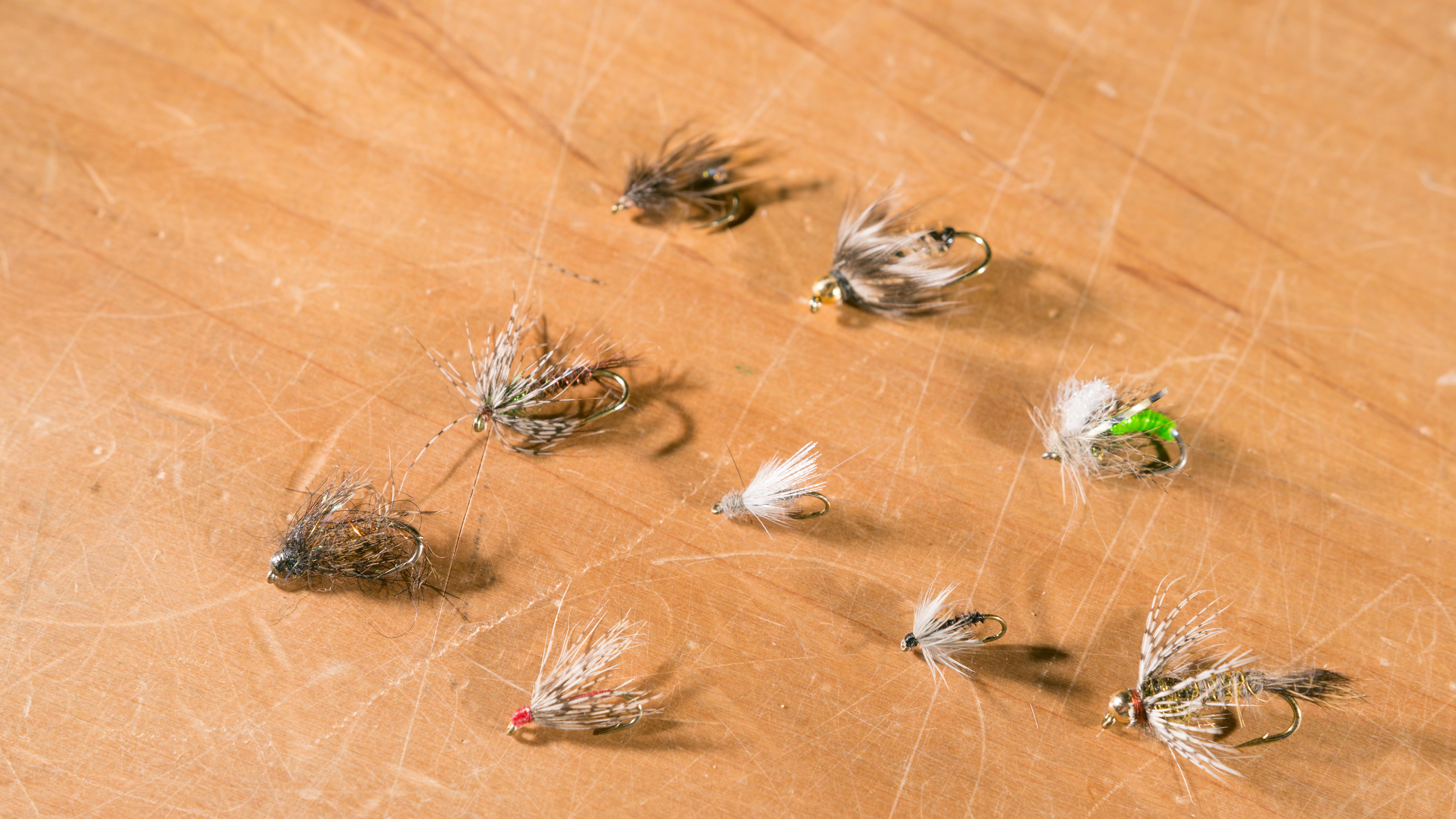 198d04403b39d A selection of soft hackles including emergers and bead-head nymphs.